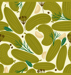seamless pattern with canned cucumbers vector image