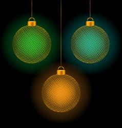 self-illuminated Christmas balls on black vector image