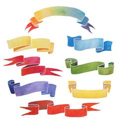 set colorful watercolor ribbons vector image