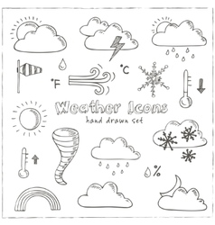 Set doodle sketch weather icons vector