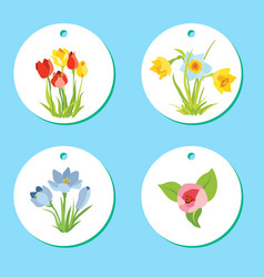 Set of labels with spring april flowers for easter vector