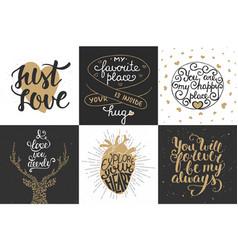 Set romantic hand drawn unique typography vector