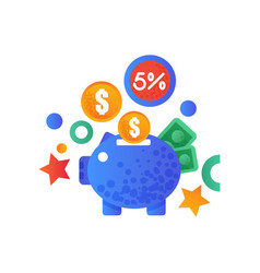 shopping symbols piggy bank and money signs vector image