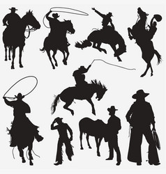 silhouettes cowboy 2 vector image