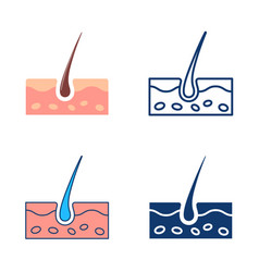 Skin icon set in flat and line style vector