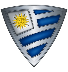 steel shield with flag uruguay vector image vector image
