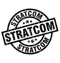 Stratcom round grunge black stamp vector