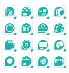 stylized internet computer and mobile phone icons vector image