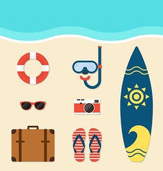 Summer elements flat design vector image