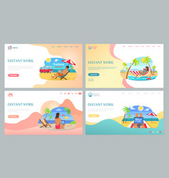 summertime job on beach freelancer online vector image