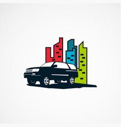 Suv car on city logo designs concept for company vector