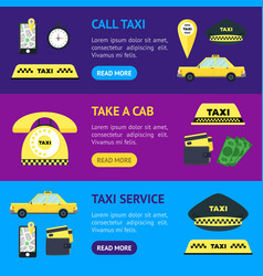 taxi transportation service banner horizontal set vector image