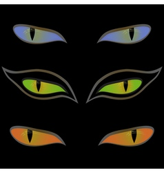 Three pairs of cat eyes over black vector