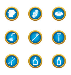 toilet hygiene icons set flat style vector image