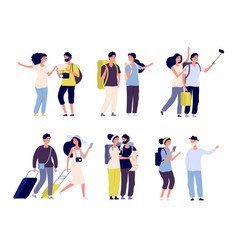tourist characters young couple family tourists vector image