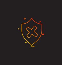 Unprotected sheild icon design vector