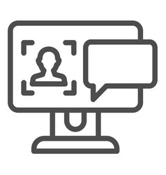 User on computer monitor line icon authorization vector