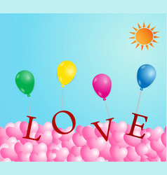 valentines day with heart shape colorful vector image