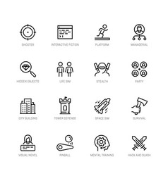 Video game genres icons set in editable line vector