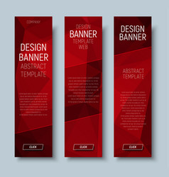 web banners with abstract polygonal red backgroun vector image