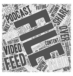 what is a podcast feed Word Cloud Concept vector image