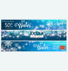 winter banner set color sale background design vector image