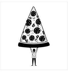 with boy holding big piece pizza vector image