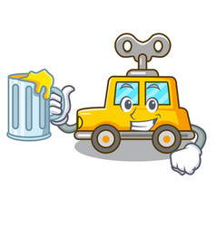 With juice cartoon clockwork toy car for gift vector