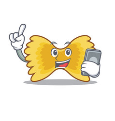 With phone farfalle pasta character cartoon vector