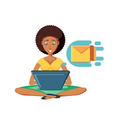 Woman black sitting with laptop and envelope mail vector