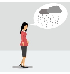 Woman in depression with a rainy thoughts vector