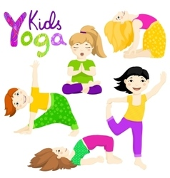 Yoga kids set 2 vector image