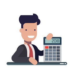 Young businessman or manager with calculator in vector
