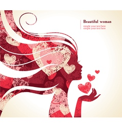 Beautiful girl silhouette with a hearts vector image