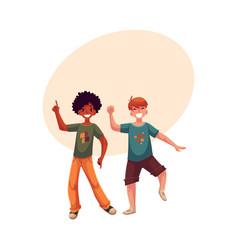 Black and caucasian boys kids having fun dancing vector