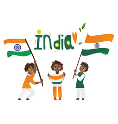 indian people holding and waving tricolor flags vector image