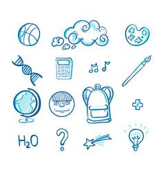 school doodle icon set vector image vector image