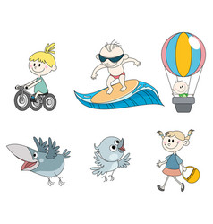 six childrens characters vector image vector image
