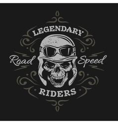 Vintage Biker Skull On a dark background vector image