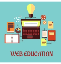 Web education flat concept vector image vector image