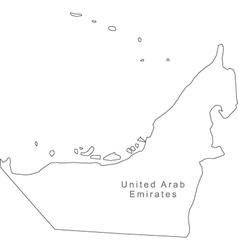 Black White United Arab Emirates Outline Map vector image