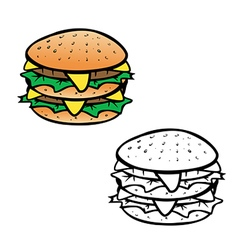 cheeseburger coloring book vector image vector image