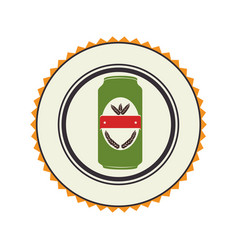 color emblem with canned drink vector image