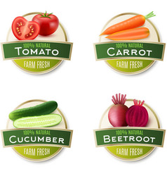 Farm Fresh Vegetables Round Labels Collection vector image
