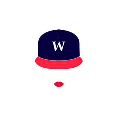 image of a girl with baseball cap vector image