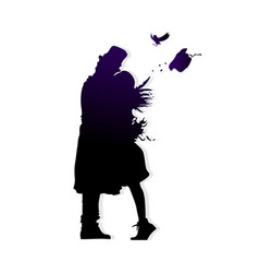 many faces of men and women silhouette shadow kiss vector image