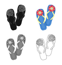 Summer rubber flip flopsflip flops single icon in vector