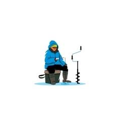 Winter fishing sign Ice fisherman on lake vector image vector image