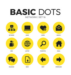 network flat icons set vector image
