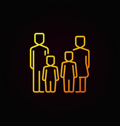 Parents and kids yellow icon vector
